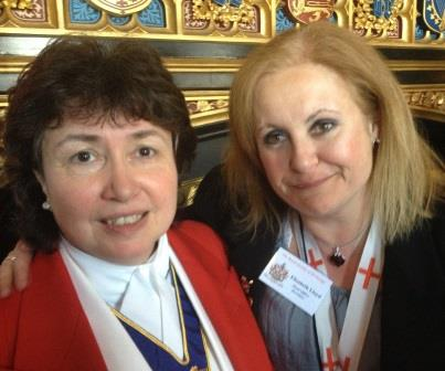 Elizabeth Lloyd form the Royal Society of St. George meets Linda Palmer from The English Toastmasters Association