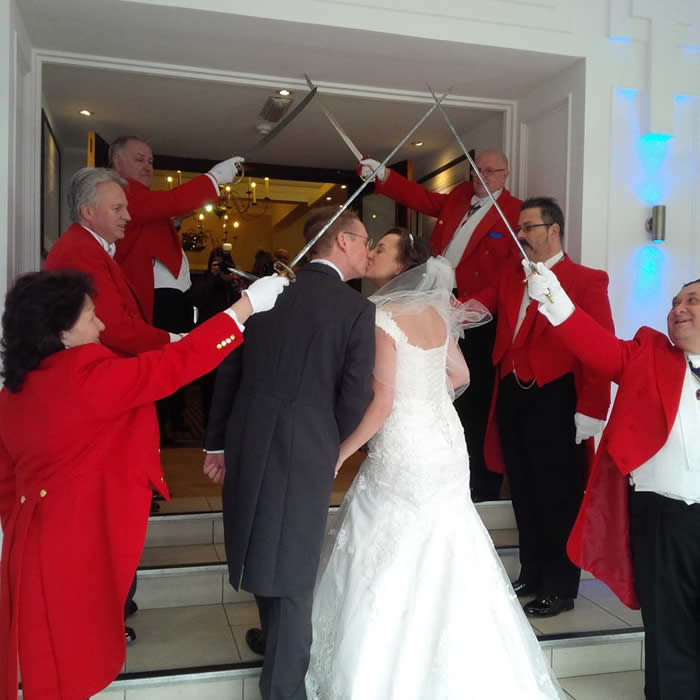 Wedding Arch of Steel by toastmasters from The English Toastmasters Association for a wonderful entrance at Sandbanks Hotel, Poole, Dorset