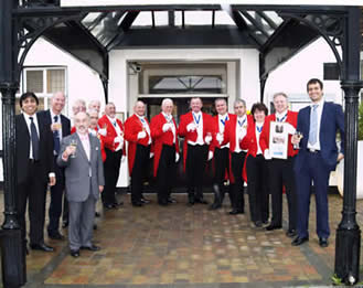 English Toastmasters Association Toastmasters pictured outside The County Hotel, Chelmsford, Essex during their annual Trafalgar Day meeting