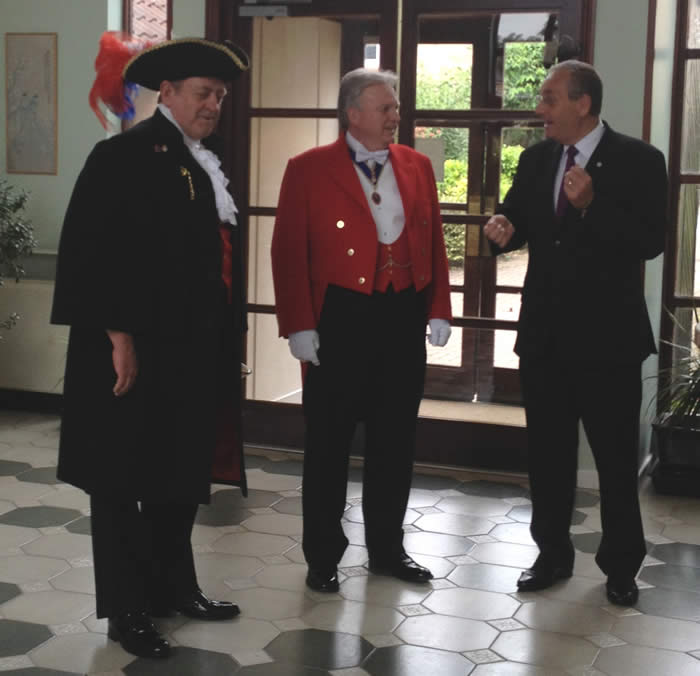 Essex Toastmaster and Town Crier Ian Thornton (left) with Richard Palmer (middle) and the Mayor of Chelmsford's Chauffeur