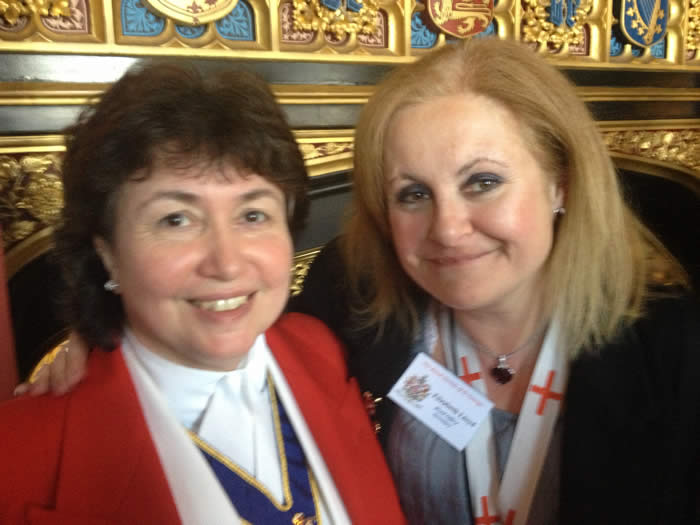 English toastmaster Linda Palmer with Liz Lloyd from the Royal Society of St. George