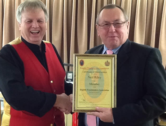 Nottinghamshire Toastmaster Neil Riley gets a big welcome to the family of The English Toastmasters Assocation as our first member to finish our training course in 2013