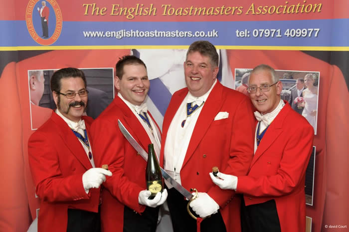 Sabrage with members of the English Toastmasters Association