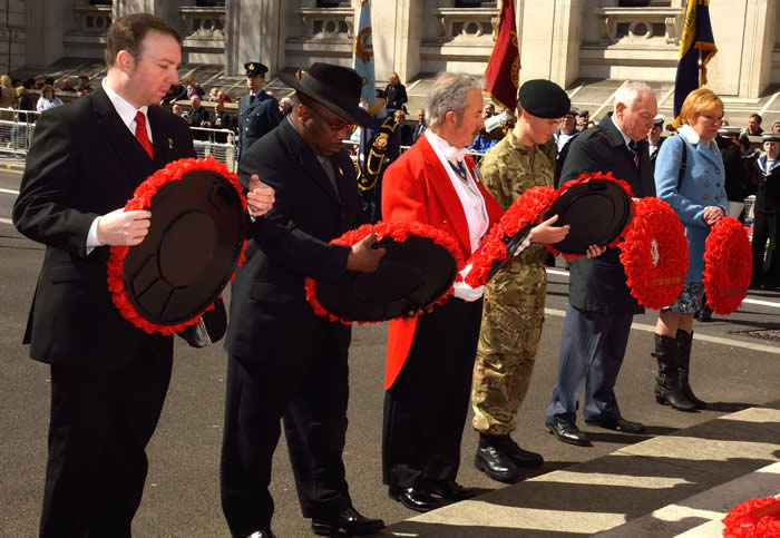 Part of The Wreath Laying Ceremony at The Cenotaph
