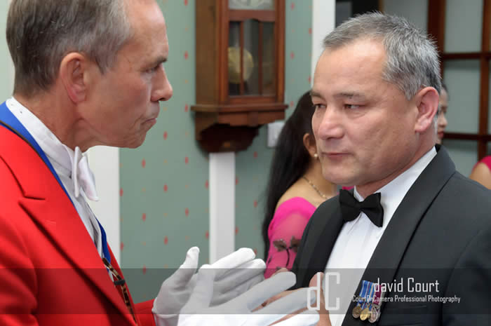 Suffolk Toastmaster Chris Woods with retired Gurkha Captain, Gaubahadur Gurung at Carver Barracks, Former RAF Base, Debden, ( Near Saffron Waldon ) Essex