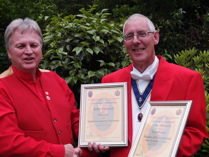 Toastmaster Training Course certificates presentation