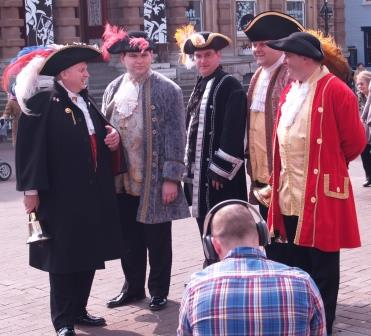 Town Criers being filmed in Ipswich working at the launch of the All About Ipswich App.