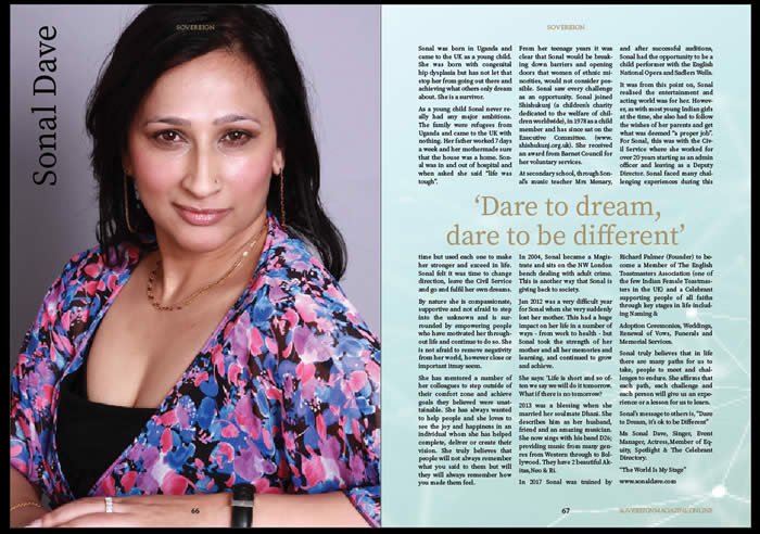 An article from Sovereign Magazine about one of our respected toastmasters. Sonal Dave