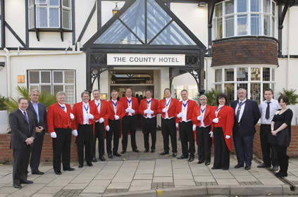 Toastmasters from The English Toastmasters Association outside the County Hotel in Chelmsford Essex