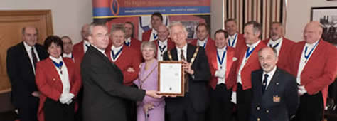 Members of the English Toastmasters Association during their St. Georges Day presentation to the Mayor and Mayoress of Chelmsford at the County Hotel, Chelmsford Essex