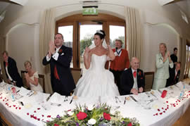 "Wedding Toastmaster announcing bride and bridegroom into their wedding breakfast to a stunning ovation which the bride said,""was the favourite part of her wedding day"""