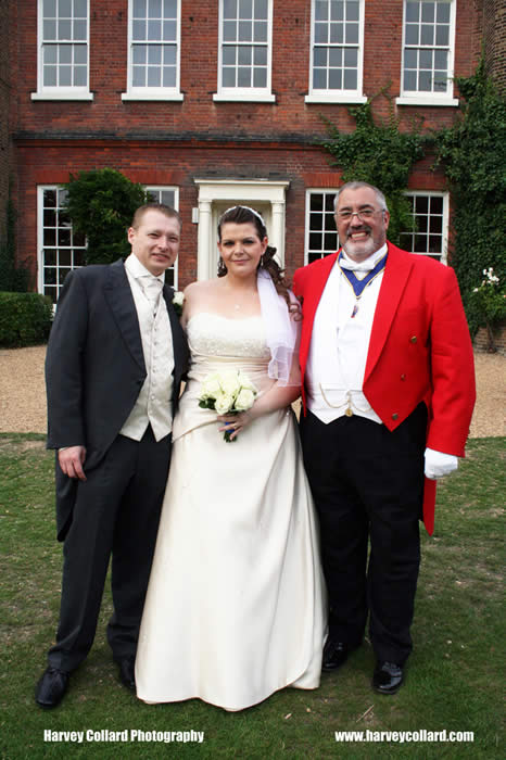 Toastmaster and Master of Ceremonies with bride and groom